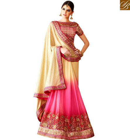 STYLISH BAZAAR BEAUTIFUL PINK AND CREAM BEMBERG GEORGETTE DESIGNER SAREE WITH WELL EMBROIDERED BLOUSE SLSNP17001