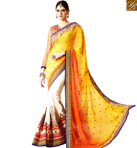 STYLISH BAZAAR ATTRACTIVE OFF WHITE AND YELLOW HALF N HALF EMBROIDERED SAREE WITH DESIGNER PALLU SLSNP17002