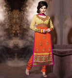 CHURIDAR SALWAR KAMEEZ ONLINE SHOPPING BEAUTIFUL EMBROIDERY IN ORANGE SALWAR KAMEEZ IN ASIAN STYLE  BE A PARTY GRABER WITH THIS ORANGE PAKISTANI STYLISH SALWAR KAMMEZ IN THIS SEASON