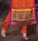 BE A PARTY GRABER WITH THIS ORANGE PAKISTANI STYLISH SALWAR KAMMEZ IN THIS SEASON CHURIDAR SALWAR KAMEEZ ONLINE SHOPPING