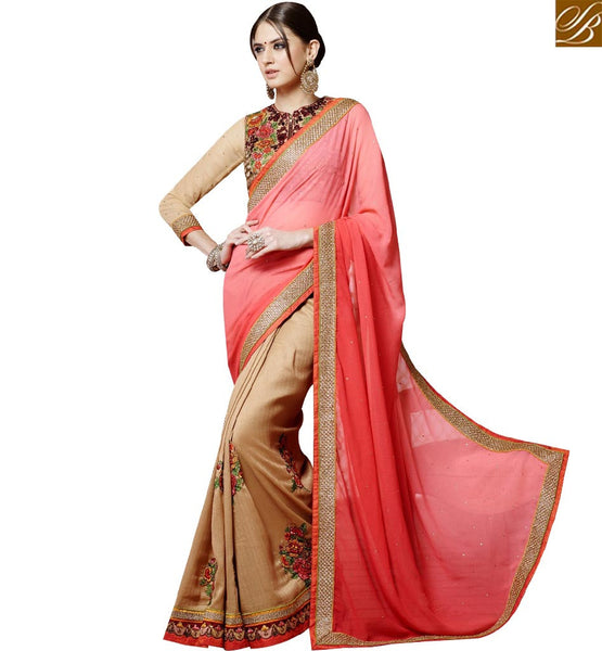 STYLISH BAZAAR WONDERFUL BEIGE & PINK GEORGETTE HALF N HALF DESIGNER SAREE WITH JACKET STYLE BLOUSE SLSNP17003
