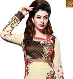 DESIGNER CREAM IN LONG SALWAR KAMEEZ PARTY WEAR SALWAR SUIT BEAUTIFUL EMBROIDERY IN KAMMEZ AND LACE BOTTOM OF SALWAR WITH  GEORGETTE FABRIC