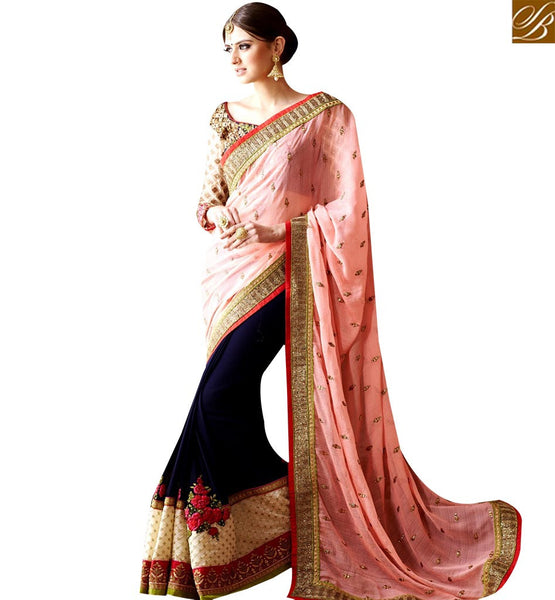 STYLISH BAZAAR PLEASING NAVY BLUE AND PEACH HALF N HALF HEAVY EMBROIDERED SAREE HAVING GLAMOROUS LOOK SLSNP17004