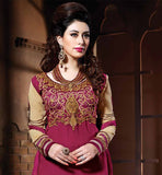 STRAIGHT AND TRENDY PAKISTANI SALWAR KAMEEZ WITH GREAT  EMBROIDERY WORK PAKISTANI DESIGNER DRESS SALWAR SUIT IN LATEST FASHION WITH GEORGETTE FABRIC IN PINK BOTTOM AND CHIFFON DUPATTA