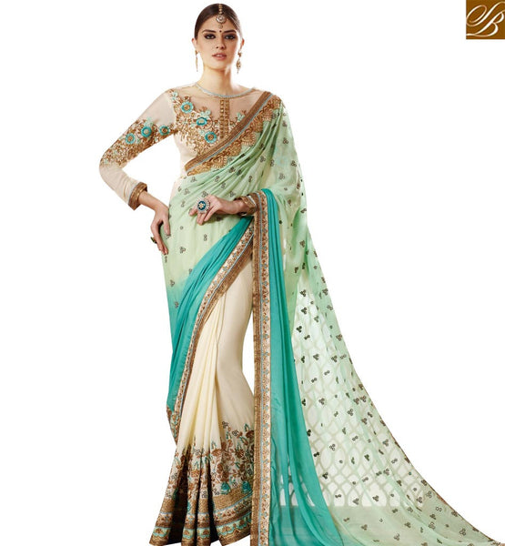 STYLISH BAZAAR AMAZING OFF WHITE GEORGETTE DESIGNER SAREE WITH GREEN SHADED PALLU & EMBROIDERED BLOUSE   SLSNP17005