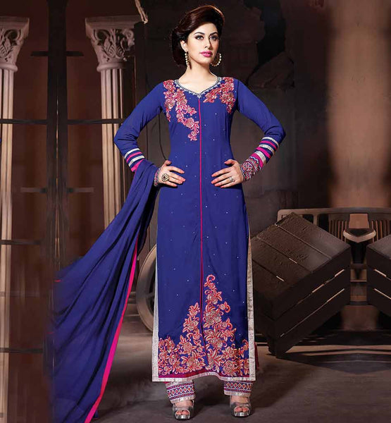 EVER STYLISH PARTY WEAR SALWAR SUITS ONLINE  BLASTIC BLUE IN LONG SALWAR KAMEEZ WITH CHIFFON DUPATTA