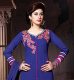 BLASTIC BLUE IN LONG SALWAR KAMEEZ WITH CHIFFON DUPATTA FROM LATEST COLLECTION OF PAKISTANI STYLE SEMI STITCHED SALWAR KAMEZ AVAILABLE AT STYLISH BAZAAR