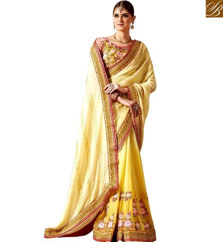 STYLISH BAZAAR DAZZLING YELLOW GEORGETTE HEAVY EMBROIDERED SAREE WITH HEAVY BORDER WORK PALLU SLSNP17006