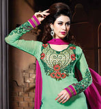 SIZZLING DESIGNER SALWAR KAMIZ IN GREAT COLOR  COMBINATION OF PARTY WEAR LATEST DESIGNER PARTY WEAR SALWAR KAMEEZ IN GREEN COLOR AT STYLISH BAZAAR STYLISH WEAR