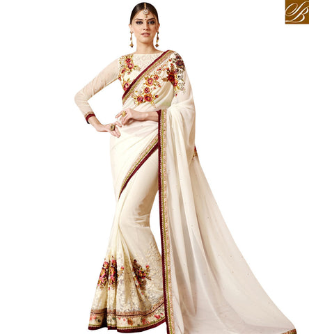 STYLISH BAZAAR DELIGHTFUL OFF WHITE GEORGETTE DESIGNER SAREE WITH FLORAL EMBROIDERY WORK WITH LOVELY BLOUSE SLSNP17007