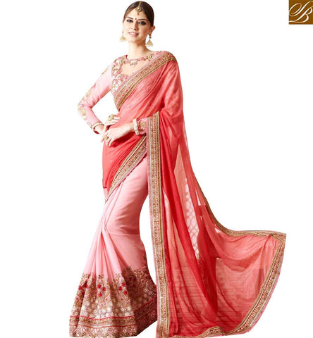 STYLISH BAZAAR APPEALING PINK AND PEACH BEMBERG GEORGETTE HEAVY EMBROIDERED SAREE WITH SUPERB BLOUSE SLSNP17008