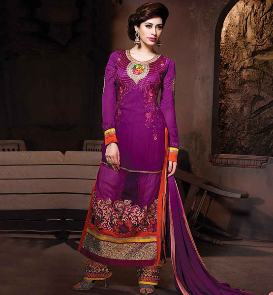LATEST FASHION ONLINE SALWAR KAMEEZ SHOPPING GREAT RESHAM EMBROIDERY WORK ON STYLISH PINK SALWAR KAMEEZ