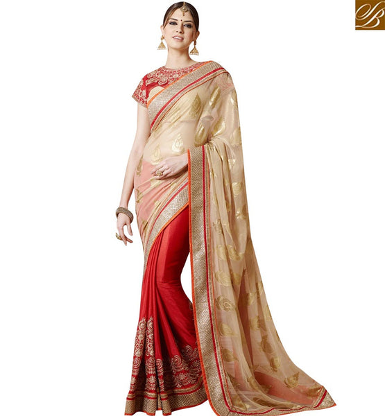 STYLISH BAZAAR CAPTIVATING RED AND GOLD DESIGNER SAREE ARRIVE IN STYLE AT ANY SPECIAL OCCATION SLSNP17009