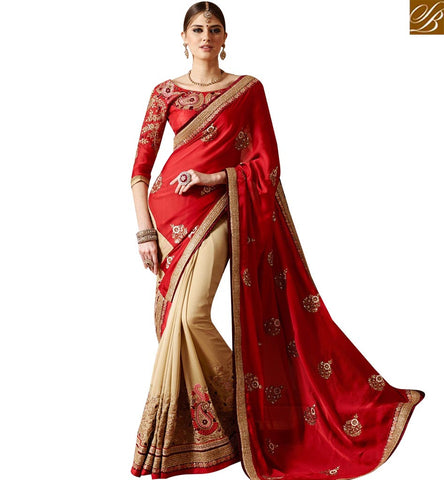 STYLISH BAZAAR GRACEFUL BEIGE AND RED GEORGETTE HALF N HALF HEAVY EMBROIDERED PARTY WEAR SAREE SLSNP17010