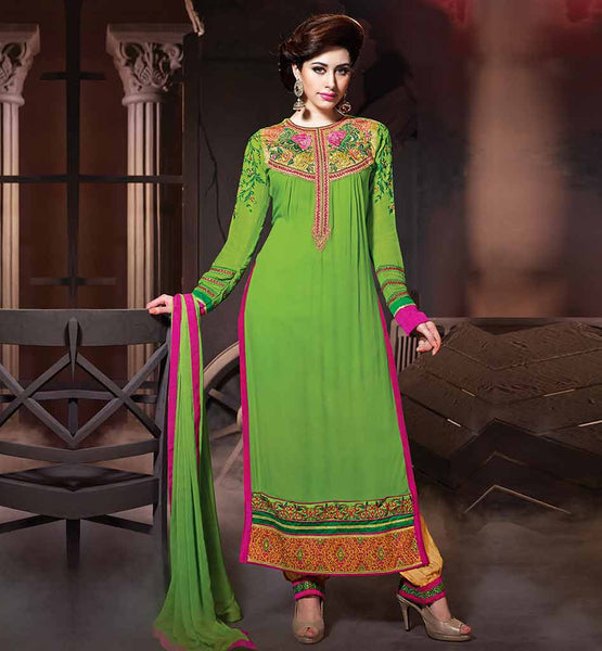 BUY NEW FASHION WOMENS SALWAR KAMEEZ ONLINE GO STYLISH WITH THIS GREEN COLOR  PARTY WEAR SALWAR SUIT WITH LONG