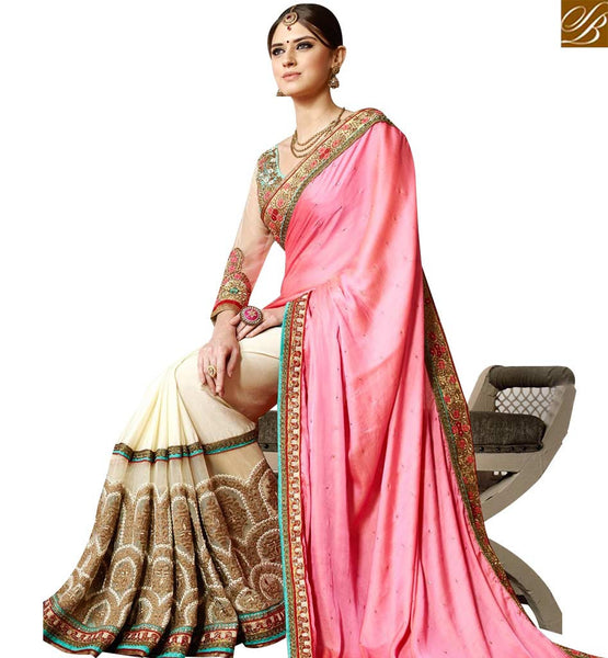 STYLISH BAZAAR OFF WHITE & PINK DESIGNER SAREE HAVING GLAMOROUS PARTY WEAR LOOK WITH HEAVY EMBROIDERY SLSNP17011