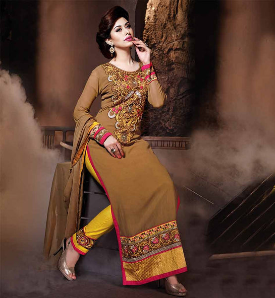 ONLINE SHOPPING FOR TRENDY WOMENS SALWAR SUITS  CHIKOO COLORED WITH EMBROIDERY WORK ON SALWAR AND KAMEEZ