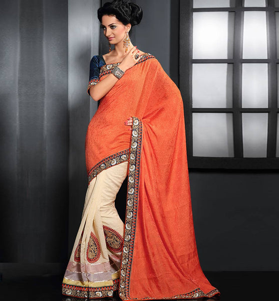 ORANGE & CREAM PARTY WEAR SARI RTAU1702 - STYLISHBAZAAR - buy designer sarees online, designer Sarees Online Shopping, designer sarees buy online, designer saree buy online, buy online designer sarees, Indian Designer Sarees