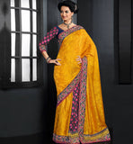 EYE-CATCHING YELLOW PARTY WEAR SARI RTAU1705 - stylishbazaar - buy sarees online, buy online sarees, indian sarees buy online, buy sarees online india, saree buy online, indian saree buy online