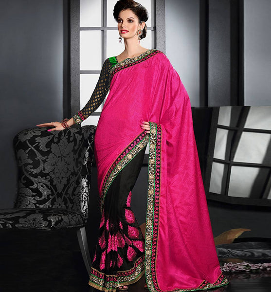 PINK & BLACK NET WITH JACQUARD PALLU SARI RTAU1706 - STYLISHBAZAAR - Designer Saris, Designer Sarees, Buy Online Sarees, Buy Sarees Online, Partywear Sarees, Designer Saris Online, Saree Online Shoppping, Saree Designs, Blouse Designs, buy sarees online UK, buy sarees UK, buy sarees USA