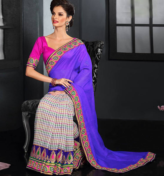 DESIGNER CHECKS & SOLID PURPLE COLOR PARTY-WEAR SARI RTAU1710 - stylishbazaar - buy designer sarees online, designer Sarees Online Shopping, designer sarees buy online, designer saree buy online, buy online designer sarees, Indian Designer Sarees