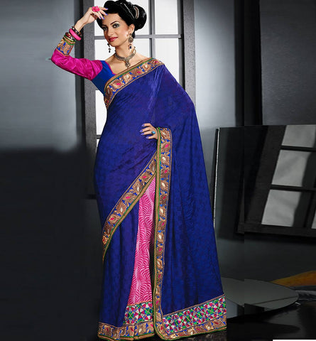 BLUE & PINK VISCOSE PARTY-WEAR SARI RTAU1711 - stylishbazaar - Online Saree Shopping, online shopping for sarees, lehenga saree buy online, buy silk sarees online, Saree Online Shopping, buy online sarees, Surat Sarees