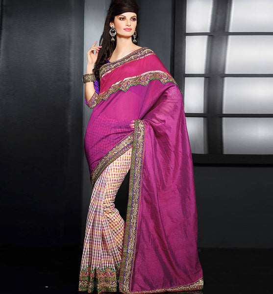 DESIGNER CHECKS & SOLID PINK COLOR PARTY-WEAR SARI RTAU1715 - STYLISHBAZAAR - Online Shopping India, USA, UK, Australia, Europe, NewZealand, Canada, Sri Lanka, Malaysia, Singapore, Mauritius, Fiji, South Africa