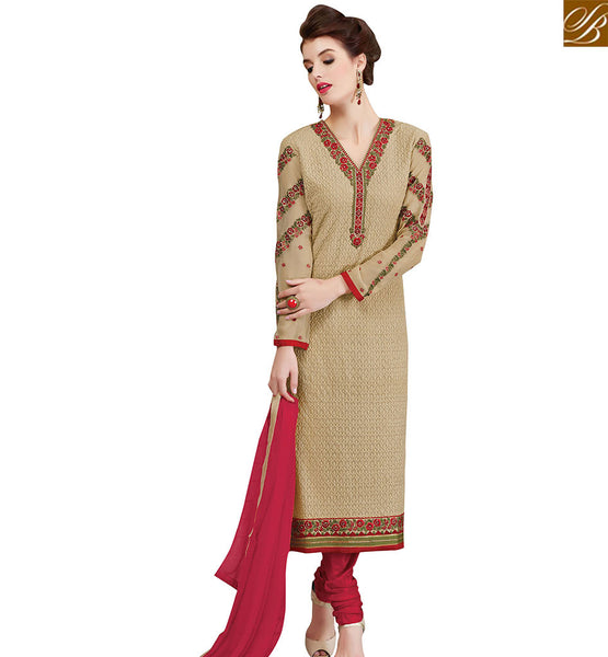 STYLISH BAZAAR AMAZING BEIGE GEORGETTE STRAIGHT CUT SALWAR KAMEEZ HAVING V NECK STYLE VDSWN17300