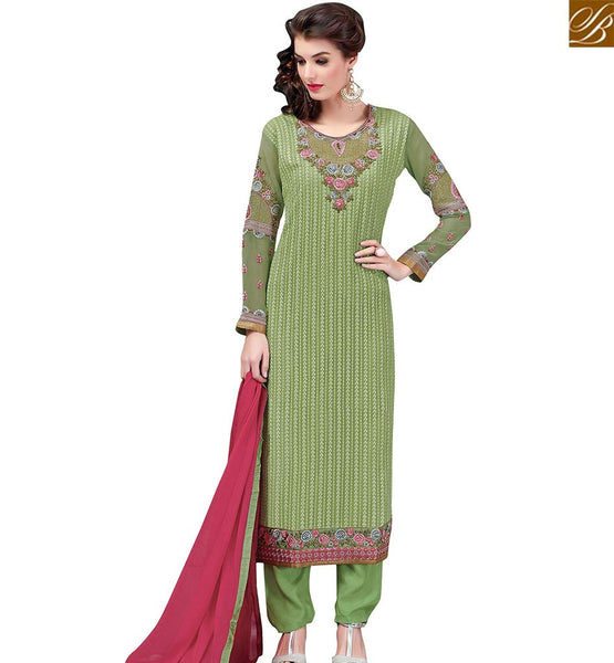 STYLISH BAZAAR APPRECIATING GREEN GEORGETTE STRAIGHT CUT SALWAR KAMEEZ HAVING EMBROIDERED WORK VDSWN17303