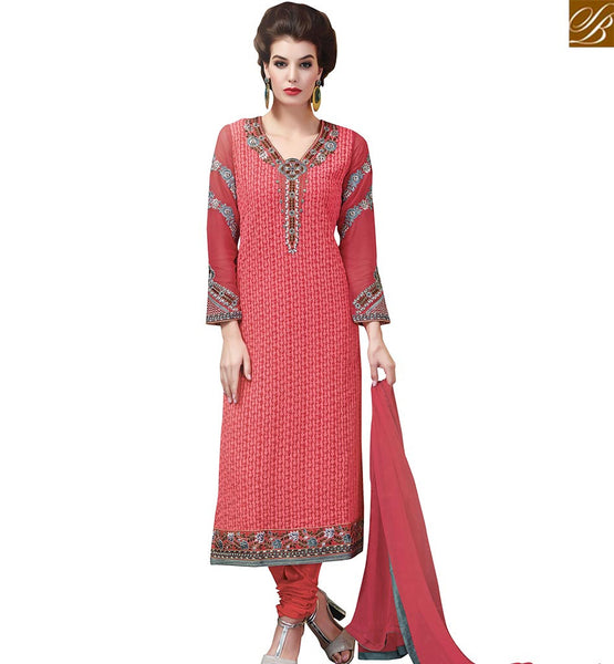 STYLISH BAZAAR SUPERB RED GEORGETTE STRAIGHT CUT SALWAR KAMEEZ WITH EMBROIDERED SLEEVES & NECK VDSWN17305