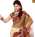 FROM STYLISH BAZAAR BEAUTIFUL BEIGE NET HEAVY EMBEDDED SAREE HAVING FLOWERY WORK WITH LACE BORDER VDSDG17353