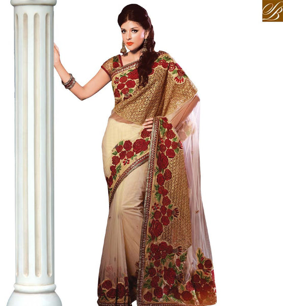 STYLISH BAZAAR BEAUTIFUL BEIGE NET HEAVY EMBEDDED SAREE HAVING FLOWERY WORK WITH LACE BORDER VDSDG17353