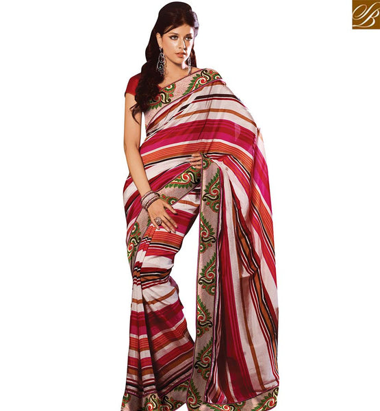 STYLISH BAZAAR PLEASING OFF WHITE AND RED SILK DESIGNER SAREE WITH APPRECIATING LACE WORK VDSDG17355
