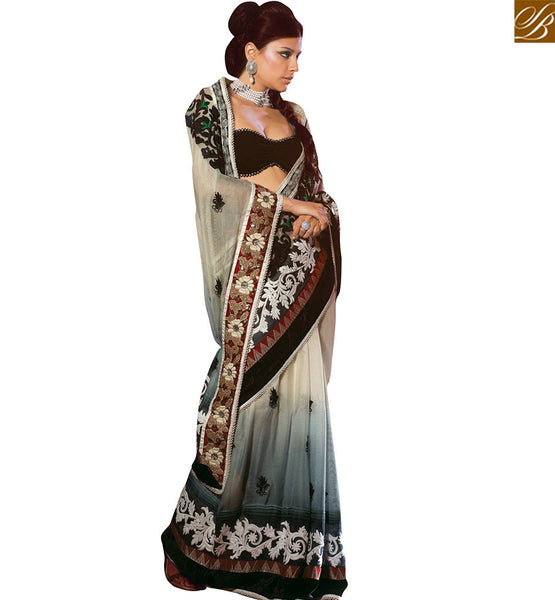 STYLISH BAZAAR OFF WHITE AND GREY SHADED NET DESIGNER SAREE HAVING ATTRACTIVE EMBROIDERY WORK VDSDG17356