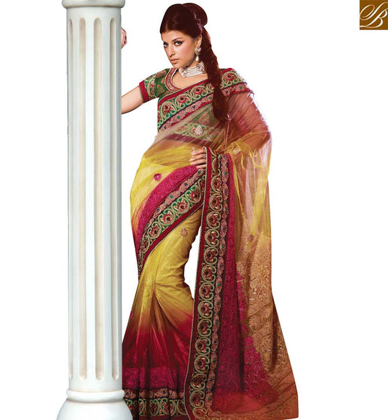 STYLISH BAZAAR SHOP YELLOW AND RED SHADED NET DESIGNER SAREE HAVING LOVELY EMBROIDERY FROM STYLISH BAZAAR VDSDG17357