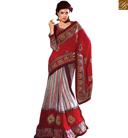 STYLISH BAZAAR MAGNIFICENT RED AND OFF WHITE DESIGNER SAREE HAVING WELL MANUFACTURED VDSDG17358