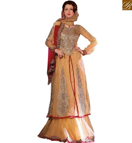 STYLISH BAZAAR ELEGANT BEIGE NET HEAVY EMBROIDERED SUIT HAVING PATCH WORK WITH LEHENGA STYLE VDSDG17359