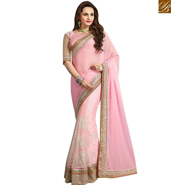 STYLISH BAZAAR BEAUTIFUL PINK CHIFFON NET DESIGNER SAREE WITH LACE BORDER WORK AND EMBROIDERED BLOUSE VDRUD17453