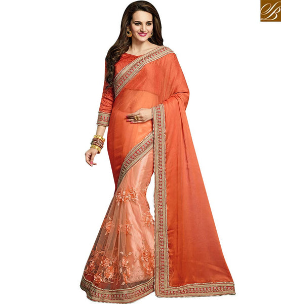STYLISH BAZAAR WONDERFUL ORANGE BEMBERG CHIFFON & NET HAVING EMBROIDERY MOTI LACE WORK VDRUD17454