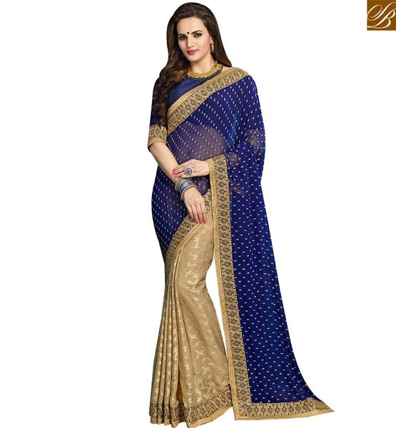 STYLISH BAZAAR ELEGANT BEIGE AND BLUE GEORGETTE CHIFFON HALF N HALF DESIGNER SAREE WITH LACE BORDER WORK VDRUD17455