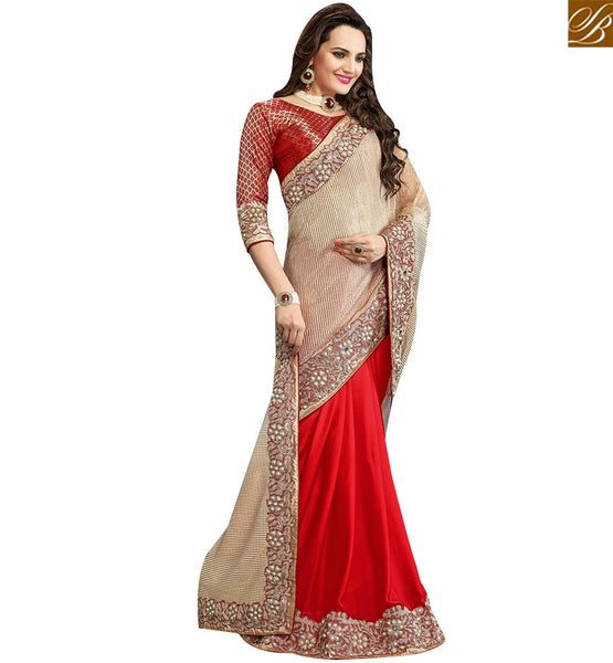 STYLISH BAZAAR FASCINATING RED AND BEIGE DESIGNER SAREE HAVING LACE MOTI WORK ON THE BORDER VDRUD17456
