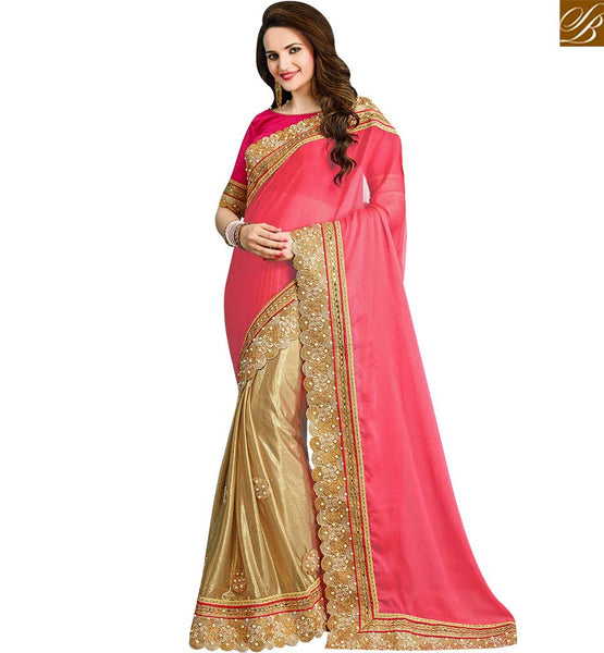 STYLISH BAZAAR ENTICING BEIGE AND PINK BEMBERG CHIFFON SAREE HAVING LACE BORDER AND STONE WORK VDRUD17457