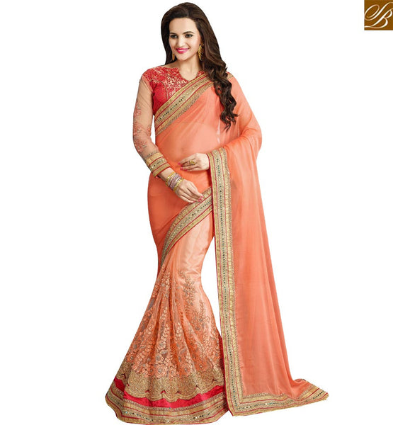 STYLISH BAZAAR MAJESTIC ORANGE BEMBERG CHIFFON & NET DESIGNER SAREE WITH HEAVY EMBROIDERY WORK VDRUD17458