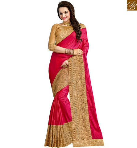 STYLISH BAZAAR GRACEFUL RED SILK DESIGNER PARTY WEAR SAREE HAVING GOLD EMBROIDERED LACE BORDER VDRUD17459