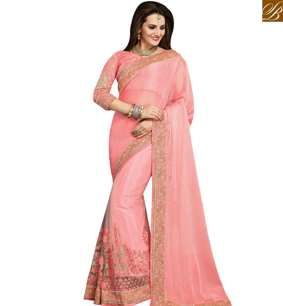 STYLISH BAZAAR STUNNING PINK BEMBERG CHIFFON NET EMBROIDERED PARTY WEAR SAREE WITH LACE MOTI WORK VDRUD17461