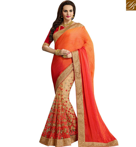 STYLISH BAZAAR ADMIRABLE BEIGE AND ORANGE CRUSH NET DESIGNER PARTY WEAR SAREE WITH LACE BORDER VDRUD17462