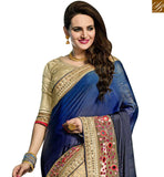 BROUGHT TO YOU BY STYLISH BAZAAR AMAZING BLUE AND BEIGE GEORGETTE NET EMBROIDERED PARTY WEAR SAREE VDRUD17463