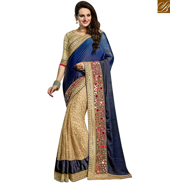 STYLISH BAZAAR AMAZING BLUE AND BEIGE GEORGETTE NET EMBROIDERED PARTY WEAR SAREE VDRUD17463