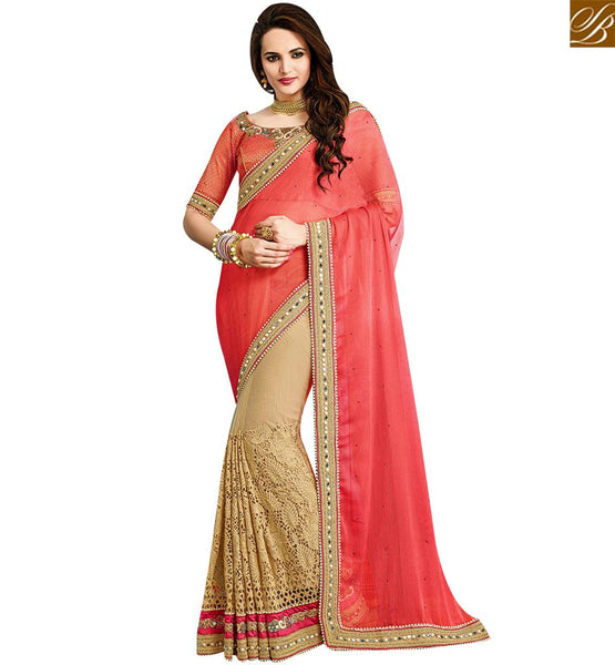 STYLISH BAZAAR BEWITCHING PEACH AND BEIGE BEMBERG GEORGETTE DESIGNER PARTY WEAR SAREE VDRUD17464