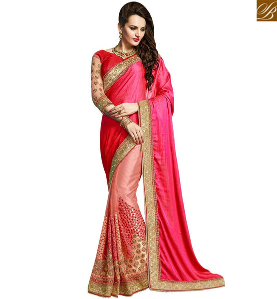 STYLISH BAZAAR SPLENDID PINK CRUSE NET DESIGNER SAREE HAVING WELL EMBROIDERY WITH MOTI LACE BORDER WORK VDRUD17466